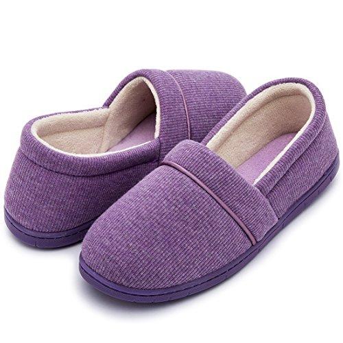 ULTRAIDEAS Women's Velvet Memory Foam Closed Back Slippers Lightweight Anti-Slid Embroidery Ballerina House/Office Shoes (Medium / 7-8 B(M) US, Purple) by ULTRAIDEAS