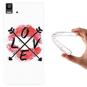 WoowCase Funda Bq Aquaris E5, [Bq Aquaris E5 ] Funda Silicona Gel Flexible Labios LOVE, Carcasa Case TPU Silicona - Transparente