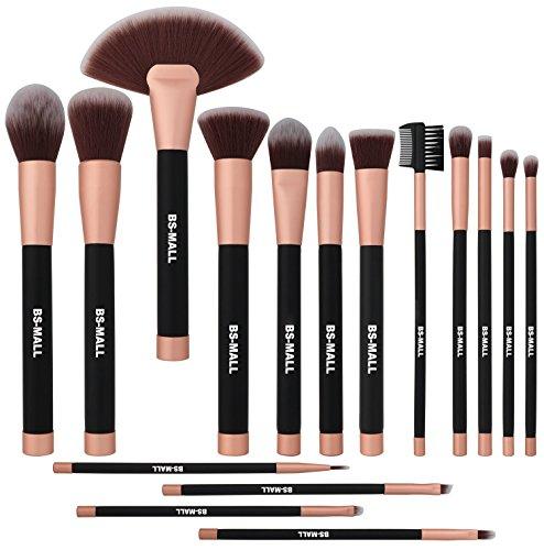 BS-MALL Makeup Brush Set Eyeshadow Premium Synthetic Kabuki Cosmetics Brushes Makeup Brushes(16 Pcs Rose black)