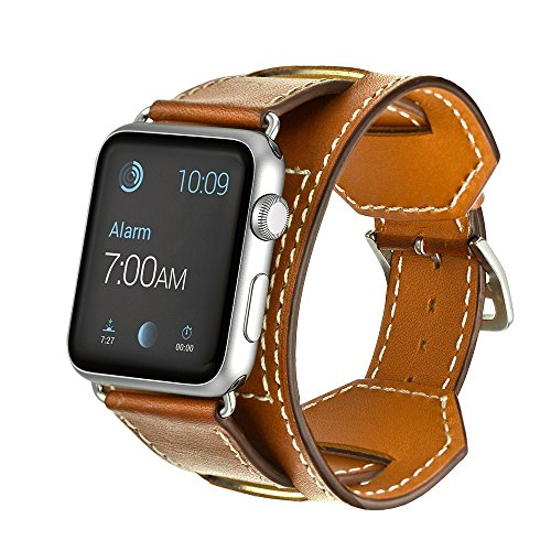 Apple Watch Band,MacTop 42mm Genuine Leather Apple Smart Watch Band Cuff Strap Design for Original 42mm iWatch Band Replacement with Adapter Metal Clasp for Apple Watch iWatch Models (brown)