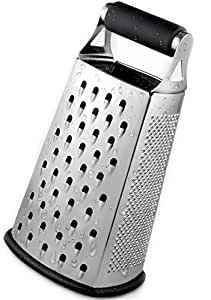 Cheese Grater - BEST GRIP – Premium Box Grater – Grater – Vegetable Shredder - Zester - for kitchen – 4 sided stainless steel by Capocuoco