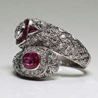 Antique Art Deco 925 Silver White Sapphire Ruby Gem Ring Women Wedding Jewelry