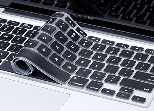 PLASTRON Keyboard Skin Cover  MacBook Air Pro 13 #34; 15 #34;, Black   Letter Printed