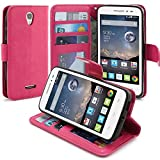 POP Astro Case, LK Alcatel POP Astro Wallet Case Luxury PU Leather Case Flip Cover Built-in Card Slots Stand For Alcatel OneTouch POP Astro, Hot Pink