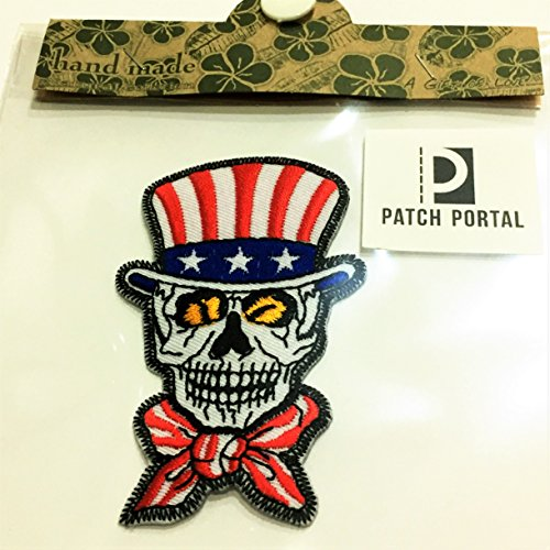 USA Top Hat Skull Patch 3.5 Inch United States of America Embroidered American Uncle Sam Party Supplies Favors US Skeleton Biker Motor Cycle Club Appliques Sewn Iron on Jackets Shirts - Biker Uncle Sam Jacket
