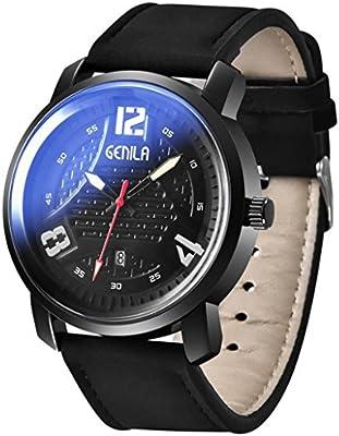 Wawer Reloj de hombre piel resistente al agua fecha cuarzo Hombre Cuarzo Relojes de pulsera banda Longitud 25 cm aprox. Ancho de banda 2,2 cm aprox.