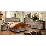 Belgrade II Transitional Style Rustic Weathered Oak Finish Eastern King Size 6-Piece Bedroom Set