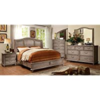Belgrade II Transitional Style Rustic Weathered Oak Finish Eastern King Size 6-Piece Bedroom Set