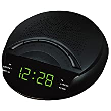 HITO AM/FM 0.6 inch Green LED Clock Radio Military Time Only w/ Dual Alarm, Adapter included