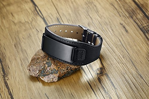 Personalized Men's Leather Bracelet Black Men's Bracelets with Stainless Steel Plate Custom Name Bracelet for Him by Mealguet Jewelry (Image #2)