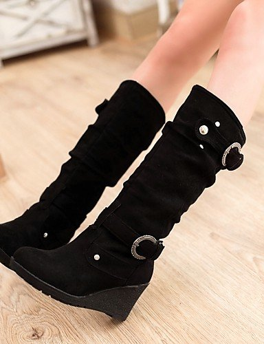 Boots Toe Fashion Booties Fleece Wedges Calf Ladies Shoes Mid Heel Round Casual Booties Boots Black Womens Citior fq6gS