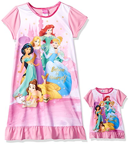 Disney Girls' Multi-Princess Nightgown with Matching Doll Gown