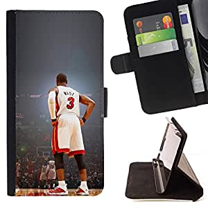 For Apple Iphone 6 Wade 3 Basketball Beautiful Print Wallet Leather Case Cover With Credit Card Slots And Stand Function