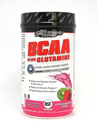 Bluebonnet Nutrition Extreme Edge Bcaa Glutamine Powder, Strawberry Kiwi, 13.23 Ounce