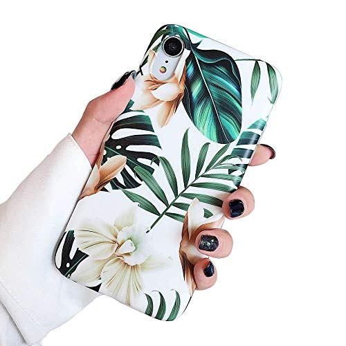 Leaf Phone Cover - iPhone XR Case for Girls, ooooops Green Leaves with White & Brown Flowers Pattern Design, Slim Fit Clear Bumper Soft TPU Full-Body Protective Cover Case for iPhone XR 6.1'' (Leaves & Flowers)