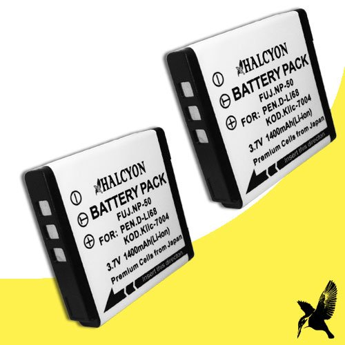Two Halcyon 1800 mAH Lithium Ion Replacement Battery for Fujifilm Real X10 12 MP Digital Camera and Fujifilm NP-50