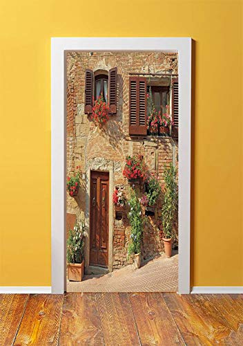 - Tuscan 3D Door Sticker Wall Decals Mural Wallpaper,Picturesque Lane With Mediterranean Architecture Flowers Italian Town,DIY Art Home Decor Poster Decoration 30.3x78.2021,Brown Light and Brown