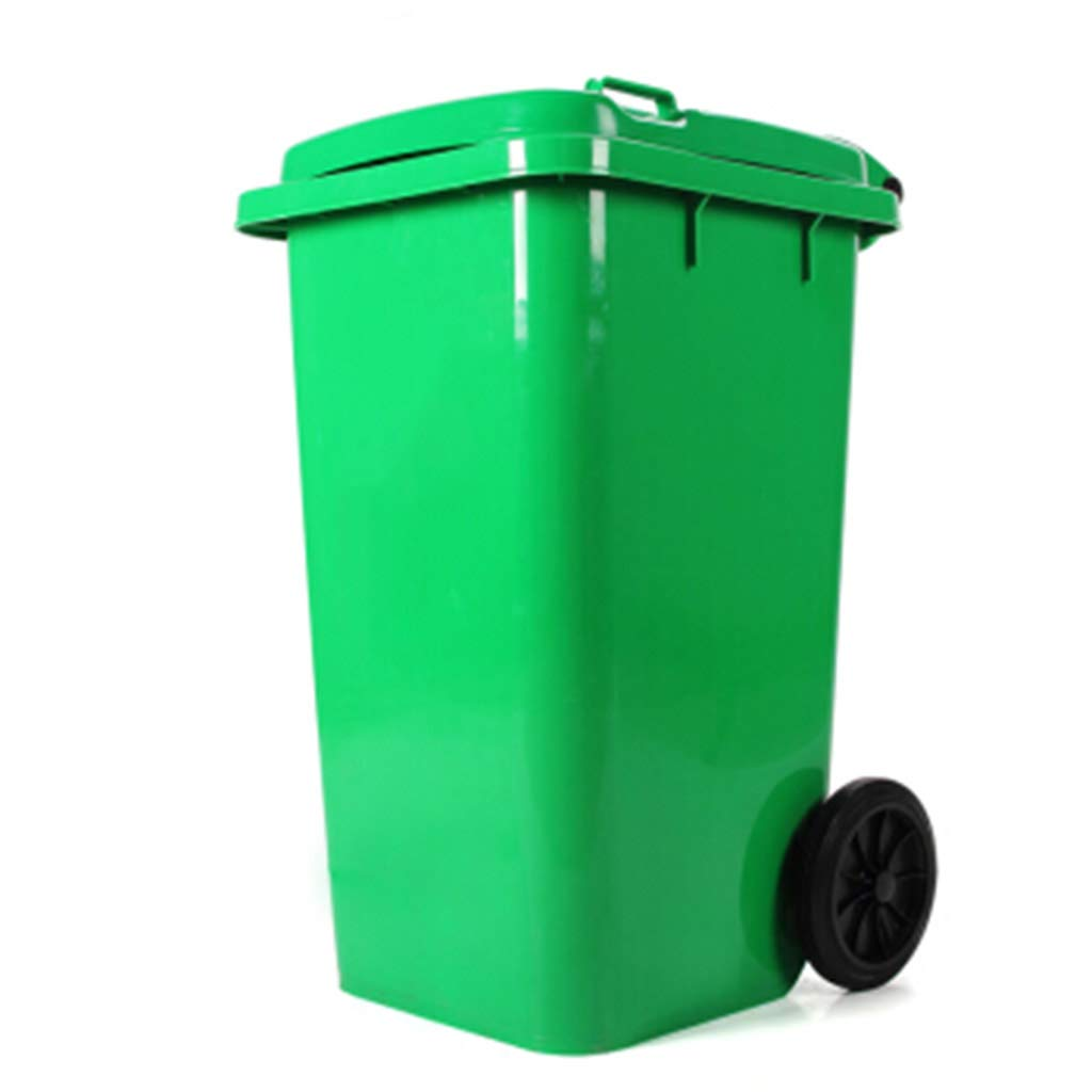 Trash can Waste Bin Large Plastic Outdoor Trash Can Sanitation Trash Can with Wheel Outdoor Park Green Trash Can