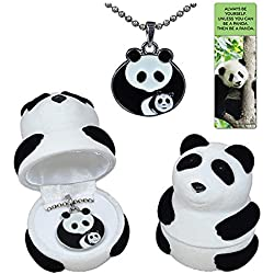 Panda mother with baby cub necklace gift set in black and white velour panda jewelry box with fun quote panda bookmark