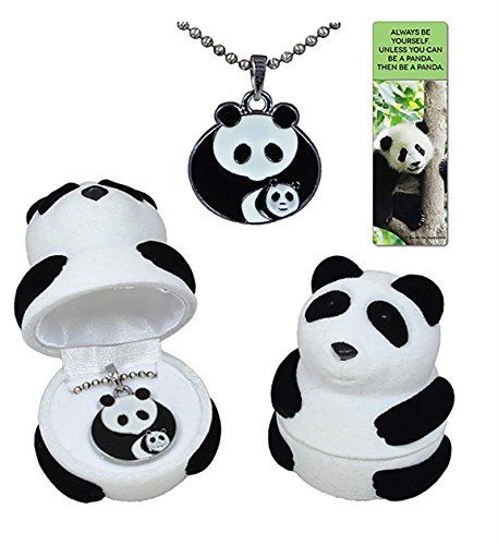- Panda mother with baby cub necklace gift set in black and white velour panda jewelry box with fun quote panda bookmark