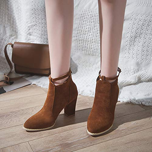 Hauts Boots Strap Brown Ponited Boucle Chaussures Bottes Alikeey Talons Flcok Femmes Martin Toe IAU0px