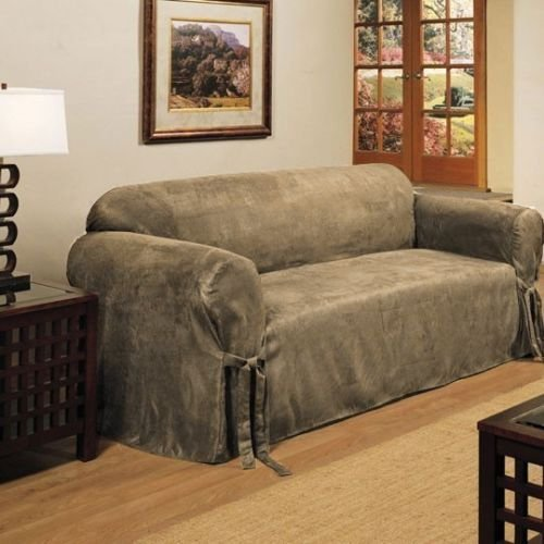 Micro Suede Slipcover Sofa Loveseat Chair Furniture Cover, B