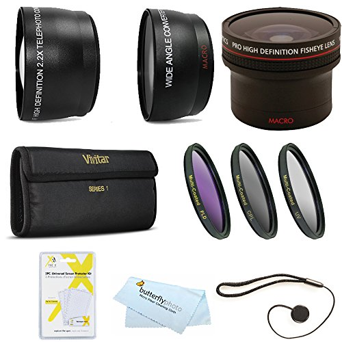 Fisheye Lens Kit For Nikon Df, D5200 D5300 D3200 D5100 DSLR, P600 Which Use (18-55mm, 55-200mm, 50mm) Nikon Lenses Includes 0.16X Fisheye Lens + Wide Angle lens + 2X Telephoto Lens + 3pc Filter Kit ++