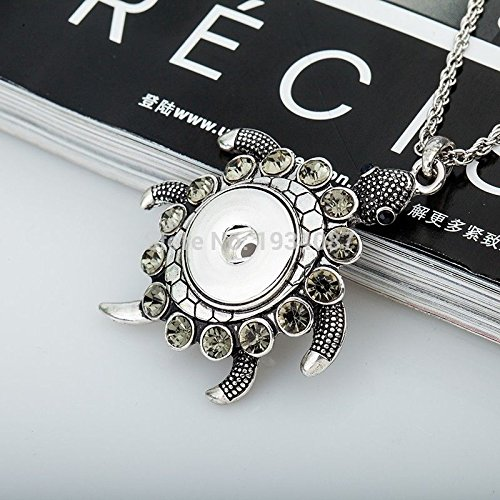 - wassana New Crystal Longevity Turtle Pendant Drill Snap Fit Noosa Necklace Charm Button