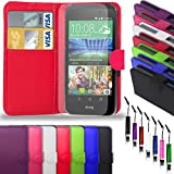 HTC Desire 320 - Leather Wallet Flip Case Cover