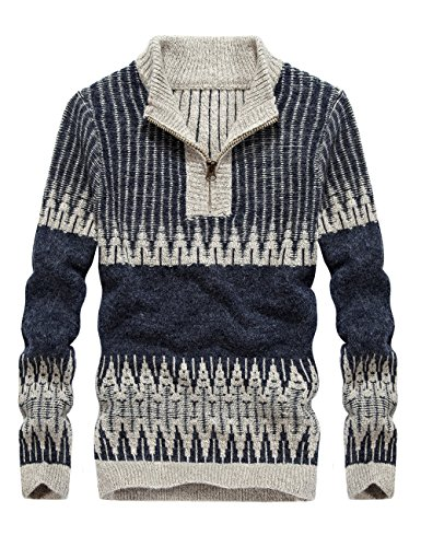 S.FLAVOR Men's Cotton Casual Jacquard Pattern Design Zipper Knit Polo Sweater