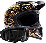 Adult Offroad Helmet & Goggles Gear Combo, Orange w/Black (XL)