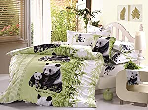 Bedding Set ,Lovely Mother and Baby Pandas Print 400-thread-count Cotton 4 Pieces 3d Bed Sets