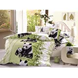 Beddinginn Lovely Mother and Baby Pandas Print 400-thread-count Cotton 4 Pieces 3d Bedding Sets (Twin)