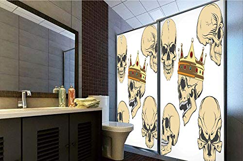 Horrisophie dodo 3D Privacy Window Film No Glue,Skull Decor,Skulls Different Expressions Evil Face Crowned Death Monster Halloween,Sand Brown Yellow,47.24