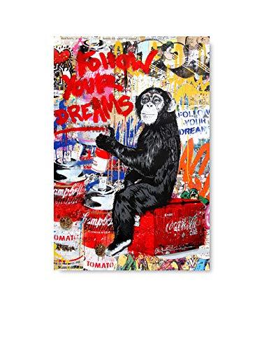 Funny Monkey Illustration Mr Brainwash Follow Your Dreams Graffiti by Mr Brainwash Unframed Poster Prints MBW Poster Art French Street Art 11