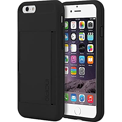 Incipio iPhone 6 Stowaway Credit Card Hard-Shell Case with Silicone Core - Retail Packaging - Black/Black from Incipio