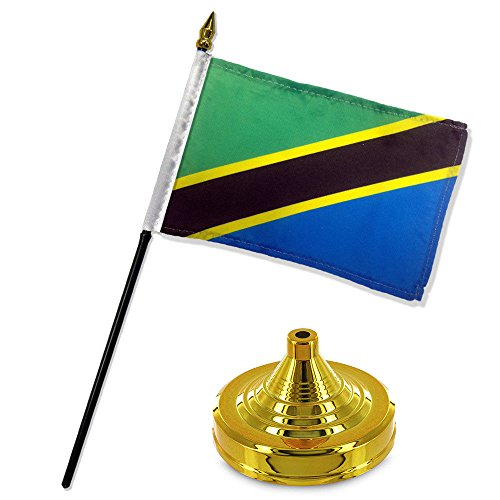 ALBATROS Tanzania 4 inch x 6 inch Flag Desk Set Table Stick with Gold Base for Home and Parades, Official Party, All Weather Indoors Outdoors