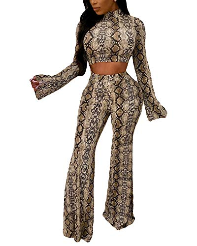 Womens 2 Piece Outfits Floral Long Bell Sleeve Mock Neck Crop Top Long Pants Set Jumpsuits Clubwear ()