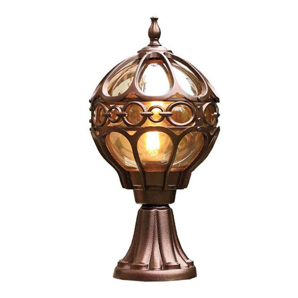Magosca European Globe Big Street Pillar Lamp Antique Cast Die-cast Aluminum IP54 Waterproof Vintage Outdoor Post Lighting for Wall Courtyard Garden Lantern External Door Lamp