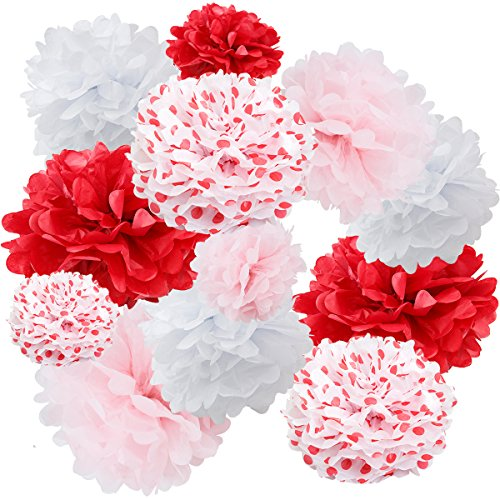 Floral Reef Variety Set of 12 (Assorted Red Polka Dot Color Pack) consisting of 8