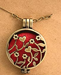 Destination Oils Antique Bronze Flowers Aromatherapy Essential Oil Diffuser Necklace- Includes 5 Extra Pads