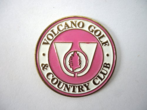 VOLCANO GOLF & COUNTRY CLUB Hawaii - Pink Metal Golf Ball Marker