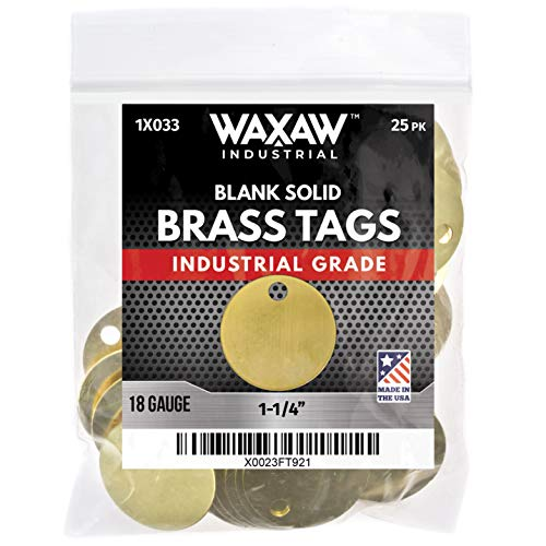 "1.25"" Solid Brass Stamping Tags (25 Pack) Industrial Grade 0.040"" Blank Chits for Pipe Valves, Keys, Tool and Equipment Labeling 