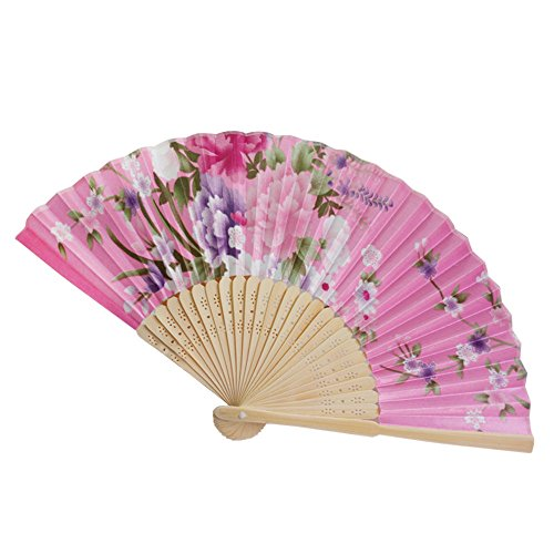 ❤️Byedog❤Vintage Bamboo Folding Hand Held Flower Fan Chinese Dance Party Pocket Gifts (D)