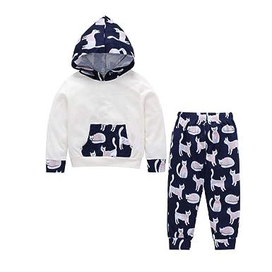 49ef6feb747a4 Amazon.com: 1-5 T Kids Baby Hoodie Sweatshirt Clothes Set Cat Print ...