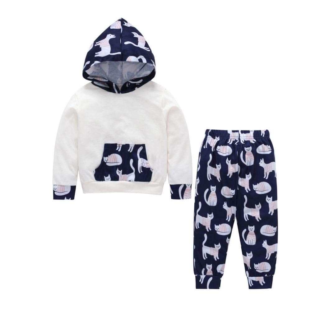 1-5 T Kids Baby Hoodie Sweatshirt Clothes Set Cat Print Hooded Top Blouse Tracksuit +Pants Pocket Autumn Winter Outfits (White, 4T)