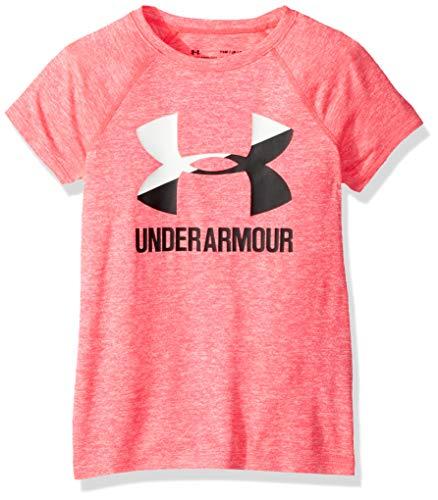 Under Armour Girls Big Logo T-Shirt Novelty Short Sleeve T-Shirt, Penta Pink (975)/Black, Youth X-Large