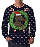 Best Comical Shirt Man Christmas - Reindeer In Wreath Full Print Ugly Christmas Long Review