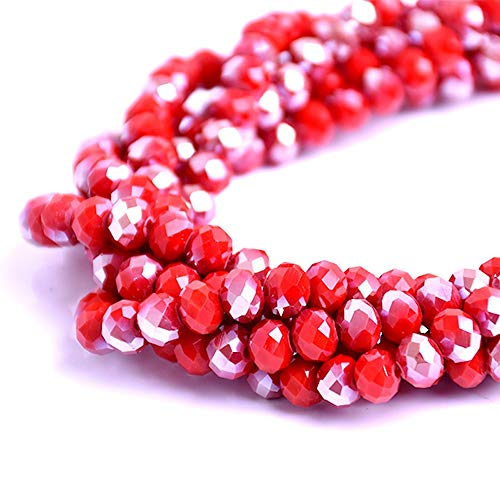 BeadsOne 8mm - 72 pcs - Glass Rondelle Faceted Beads Red Matte Opaque AB Red for jewerly Making findings Handmade jewerly briolette Loose Beads Spacer Donut Faceted Top Quality 5040 (AB D120)