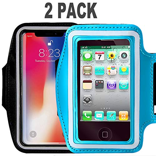 [2pack]Armband For iPhone Xs Max iPhoneXS iPhone XR iPhone X 8Plus 7Plus 6/6S Plus Galaxy s9s8 s7Edge CaseHQ Sports Exercise Running fitness exercise gym Pouch reflective with Key Holder (black+blue)]()